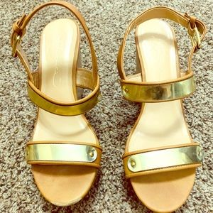 Tan / Gold Wedges Size 10 Women's